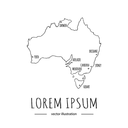 Hand drawn doodle Australia icons set Vector illustration isolated symbols collection of australian symbols Cartoon elements: map, flag, opera house, bbq, kangaroo, bridge, coral reef, snake, shark Stok Fotoğraf - 118059685