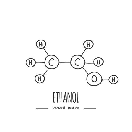 Dibujado a mano doodle icono de fórmula química de etanol Ilustración de vector Elemento de molécula de dibujos animados Estructura molecular de alcohol de bosquejo Fórmula científica estructural aislada sobre fondo blanco Ilustración de vector
