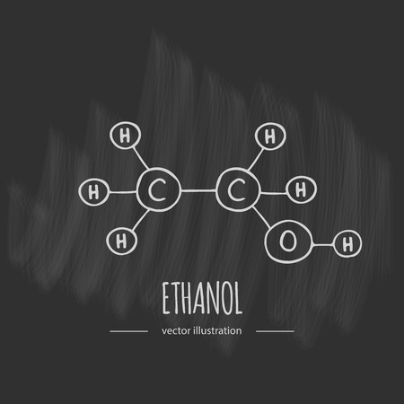 Hand drawn doodle Ethanol chemical formula icon Vector illustration Cartoon molecule element Sketch alcohol molecular structure Structural scientific formula isolated on white background