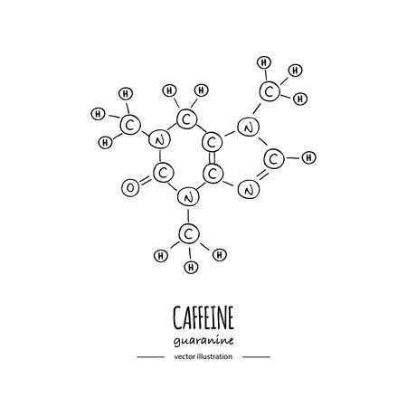 Dibujado a mano doodle Icono de fórmula química de cafeína Ilustración de vector Molécula de dibujos animados Bosquejo Estructura molecular de símbolo de guaranina Fórmula de hormona científica estructural aislada sobre fondo blanco