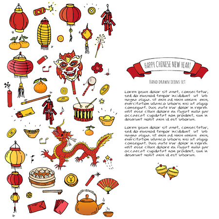 Hand drawn doodle Happy Chinese New Year icons set. Vector illustration. Asian lunar festival collection. Cartoon sketch celebration elements: firecracker, golden coin, money envelope, dragon, lantern Ilustração