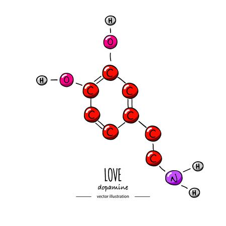 Hand getrokken doodle Dopamine chemische formule pictogram vectorillustratie Cartoon molecuul element schets liefde symbool moleculaire structuur structurele wetenschappelijke hormoon formule geïsoleerd op witte achtergrond