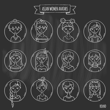 Hand drawn doodle set of Asian women avatar Icons Vector illustration set. Cartoon people faces symbols. Sketchy elements collection: girls with various hairdress, hairstyle clothing clothes t-shirt