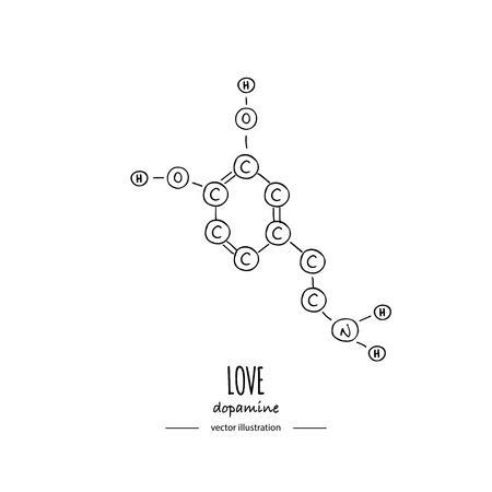 Hand getrokken doodle Dopamine chemische formule pictogram vectorillustratie Cartoon molecuul element schets liefde symbool moleculaire structuur structurele wetenschappelijke hormoon formule geïsoleerd op witte achtergrond Vector Illustratie