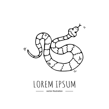 Hand drawn doodle Australian poisonous snake icon Vector illustration of Serpent isolated symbol on white background Cartoon element Venomous limbless reptile Aboriginal art style Illustration