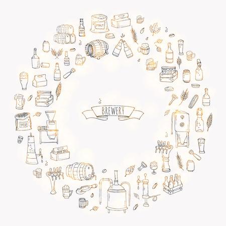 Hand drawn doodle set of Brewery icons. Vector illustration set. Cartoon Craft Beer production symbols. Sketchy brewing elements collection: pub equipment, malt, hop, glass, barrel, mill, beer tap. Reklamní fotografie - 124798760