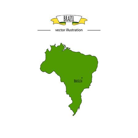 Hand drawn doodle Brazil map icon Vector illustration isolated on white background Brazilia outer borders symbol Cartoon ribbon band element icon. Brasilia symbol,