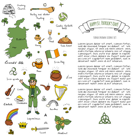 Happy St. Patrick's Day! Hand drawn doodle Ireland set Vector illustration Sketchy Irish traditional food icons elements Flag Map Celtic Cross Knot Castle Leprechaun Shamrock Harp Pot of gold Ilustração