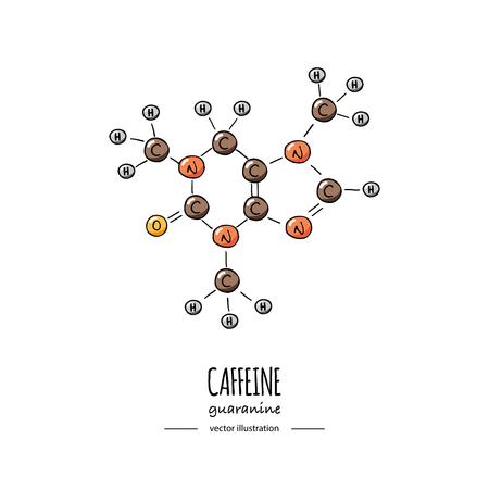 Icône de formule chimique de caféine dessinée à la main Illustration vectorielle Molécule de dessin animé Croquis Structure moléculaire du symbole de la guaranine Formule d'hormone scientifique structurelle isolée sur fond blanc Vecteurs