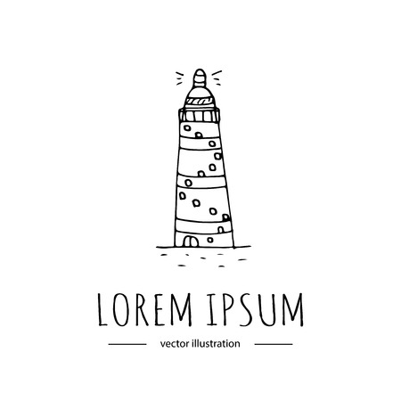 Hand drawn doodle Lighthouse icon isolated on white background. Vector illustration Cartoon building Light in the dark sea symbol element Coastline architecture Hope sign