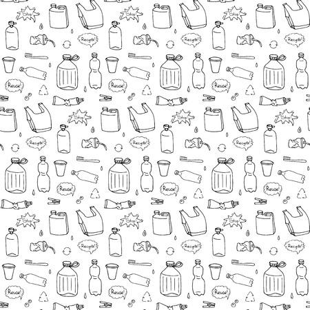 Nahtloses Muster von handgezeichneten Doodle Stop-Plastikverschmutzungssymbole Vektorillustration skizzenhafte Symbole Cartoon-Elemente Tasche Flasche Recycling-Zeichen Paket Entsorgung Abfall Kontamination Einwegschale