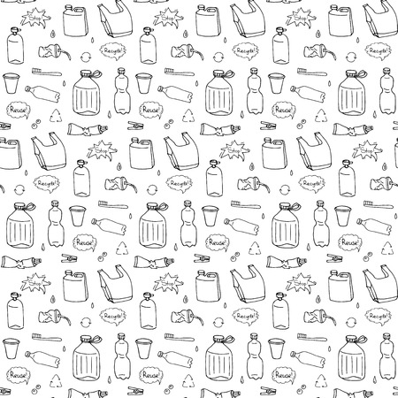 Patrón sin fisuras de doodle dibujado a mano Detener los iconos de contaminación plástica Ilustración vectorial Símbolos incompletos Elementos de dibujos animados Bolsa Botella Reciclar signo Paquete Eliminación de residuos Contaminación plato desechable