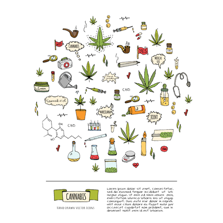 Hand drawn doodle Cannabis icons set Vector illustration sketchy symbols collection Cartoon concept elements Marijuana, Bag, Medical Use, Leaf, Drug, Legalization, CBD chemical formula, pipe, joint 写真素材 - 124798779