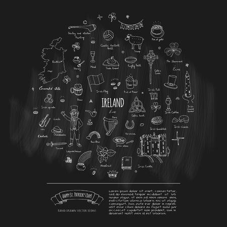 Happy St. Patricks Day! Hand drawn doodle Ireland set Vector illustration Sketchy Irish traditional food icons elements Flag Map Celtic Cross Knot Castle Leprechaun Shamrock Harp Pot of gold
