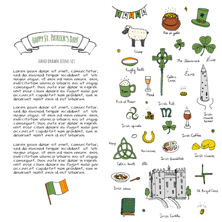 Happy St. Patrick's Day! Hand drawn doodle Ireland set Vector illustration Sketchy Irish traditional food icons elements Flag Map Celtic Cross Knot Castle Leprechaun Shamrock Harp Pot of gold Stock Vector - 118059821