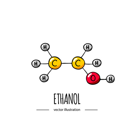 Dibujado a mano doodle icono de fórmula química de etanol Ilustración de vector Elemento de molécula de dibujos animados Estructura molecular de alcohol de bosquejo Fórmula científica estructural aislada sobre fondo blanco
