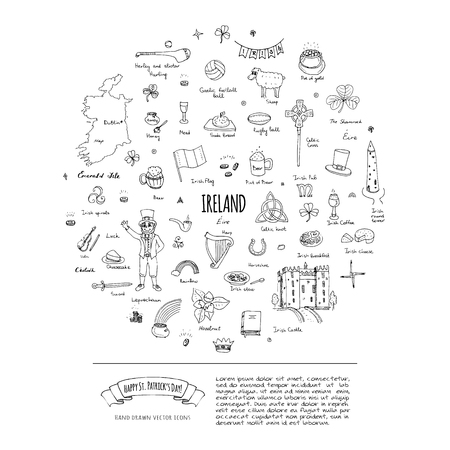 Joyeuse Saint Patrick! Doodle dessinés à la main Irlande set Vector illustration Sketchy Irish food traditional icons elements Flag Map Celtic Cross Knot Castle Leprechaun Shamrock Harp Pot d'or