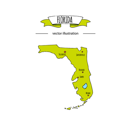 Hand drawn doodle Florida map icon Vector illustration isolated on white background islands outer borders symbol Cartoon ribbon band element icon. USA state, Miami,Orlando, Tampa, Gulf of Mexico coast Illustration
