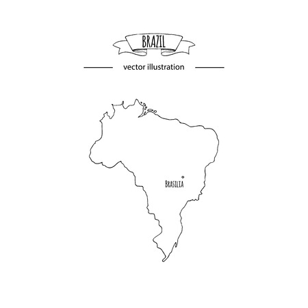 Hand drawn doodle Brazil map icon Vector illustration isolated on white background Brazilia outer borders symbol Cartoon ribbon band element icon. Brasilia symbol,