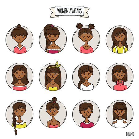 Hand drawn doodle set of people avatar icons. Vector illustration set. Cartoon black headed african women faces symbols. Sketchy elements collection: girls with various hairdress, hairstyle, clothing Banco de Imagens - 124798790