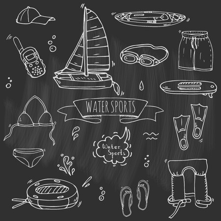 Hand drawn doodle Water sports icons set. Vector illustration, isolated symbols collection, Cartoon various elements: jetski, wakeboard, waterski, surfing, kayak, kitesurfing, paddle, parasailing Ilustração