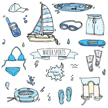 Hand drawn doodle Water sports icons set. Vector illustration, isolated symbols collection, Cartoon various elements: jetski, wakeboard, waterski, surfing, kayak, kitesurfing, paddle, parasailing Stock Vector - 120062161