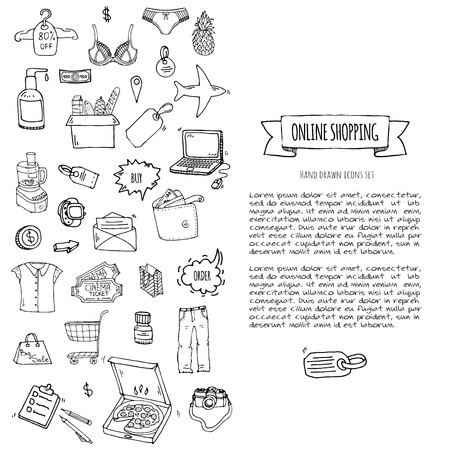 Hand drawn doodle set of Online shopping icons. Vector illustration set. Cartoon buying symbols. Sketchy elements collection: laptop, sale, food, grocery, clothing, cart, wallet, credit card, tag, bag