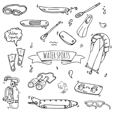 Hand drawn doodle Water sports icons set. Vector illustration, isolated symbols collection, Cartoon various elements: jetski, wakeboard, waterski, surfing, kayak, kitesurfing, paddle, parasailing Stock Vector - 120062179