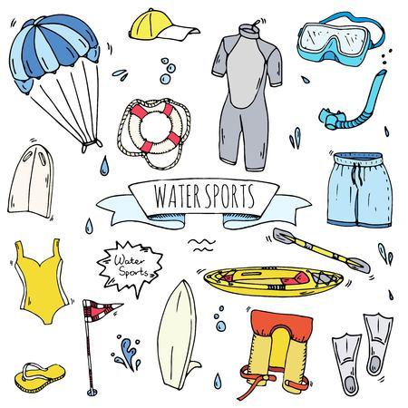 Hand drawn doodle Water sports icons set. Vector illustration, isolated symbols collection, Cartoon various elements: jetski, wakeboard, waterski, surfing, kayak, kitesurfing, paddle, parasailing Иллюстрация