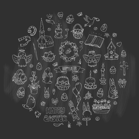 Hand drawn doodle Happy Easter icons set Vector illustration sketchy  traditional symbols collection Cartoon celebration concept elements eggs, bunny, willow twigs, basket, candles, Christian church