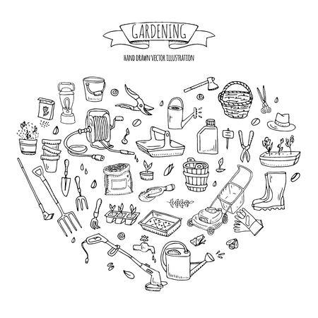 Doodle dessiné main ensemble d'icônes de jardinage. Ensemble d'illustration vectorielle. Symboles de jardin de dessin animé. Collection d'éléments sommaires: tondeuse à gazon, tondeuse, bêche, fourche, râteau, houe, trug, brouette, enrouleur de tuyau.