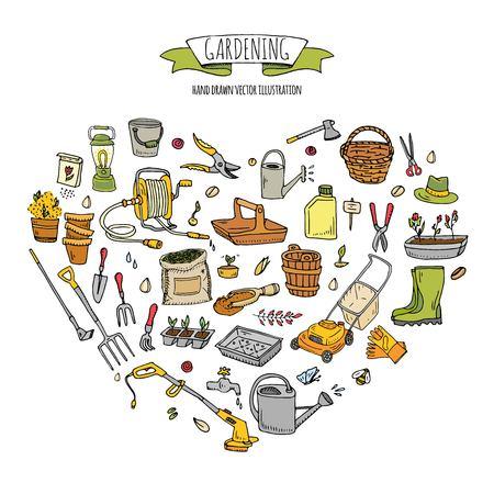 Hand drawn doodle set of Gardening icons. Vector illustration set. Cartoon Garden symbols. Sketchy elements collection: lawnmower, trimmer, spade, fork, rake, hoe, trug, wheelbarrow, hose reel.