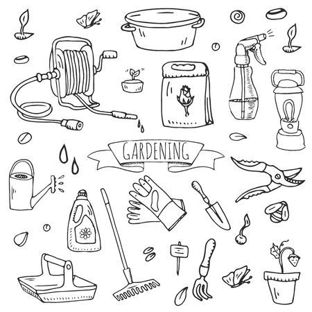 Hand drawn doodle set of Gardening icons. Vector illustration set. Cartoon Garden symbols. Sketchy elements collection: lawnmower, trimmer, spade, fork, rake, hoe, trug, wheelbarrow, hose reel. 스톡 콘텐츠 - 124094576