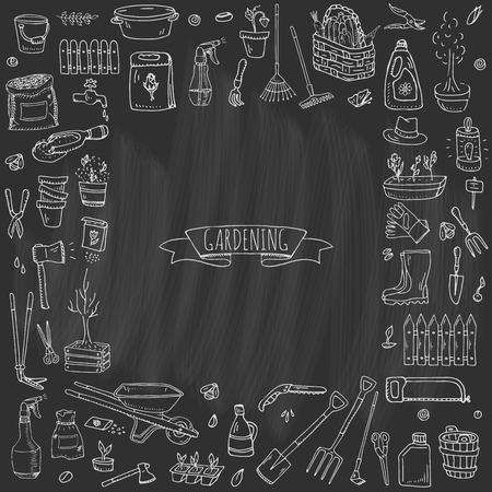 Hand drawn doodle set of Gardening icons. Vector illustration set. Cartoon Garden symbols. Sketchy elements collection: lawnmower, trimmer, spade, fork, rake, hoe, trug, wheelbarrow, hose reel. Archivio Fotografico - 124094579