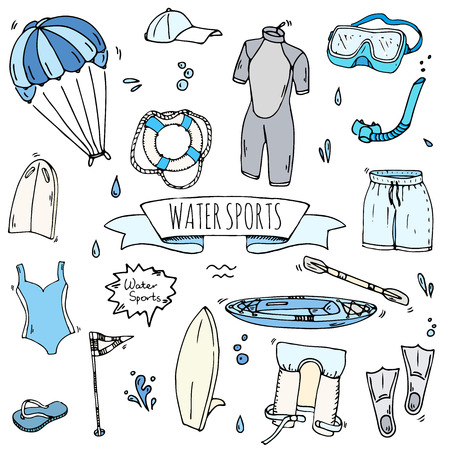 Hand drawn doodle Water sports icons set. Vector illustration, isolated symbols collection, Cartoon various elements: jetski, wakeboard, waterski, surfing, kayak, kitesurfing, paddle, parasailing Stock Vector - 120062190
