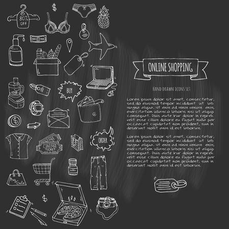 Ręcznie rysowane zbiory zestaw ikon zakupy online. Zestaw ilustracji wektorowych. Symbole zakupów kreskówek. Kolekcja elementów szkicowych: laptop, wyprzedaż, jedzenie, sklep spożywczy, odzież, koszyk, portfel, karta kredytowa, przywieszka, torba