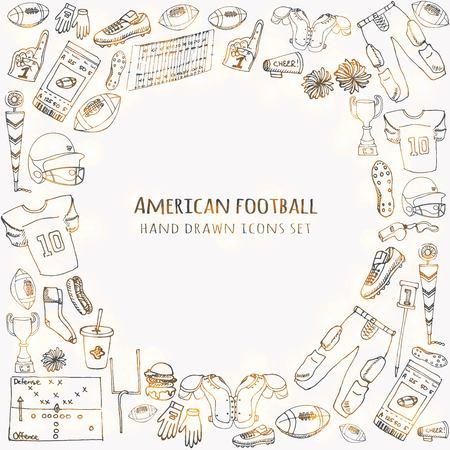 Dibujado a mano doodle conjunto de fútbol americano Ilustración vectorial Iconos relacionados con el deporte incompletos Elementos de fútbol, casco de pelota, pantalones de jersey, rodilla, muslo, hombreras, tacos, campo, porristas, indicador