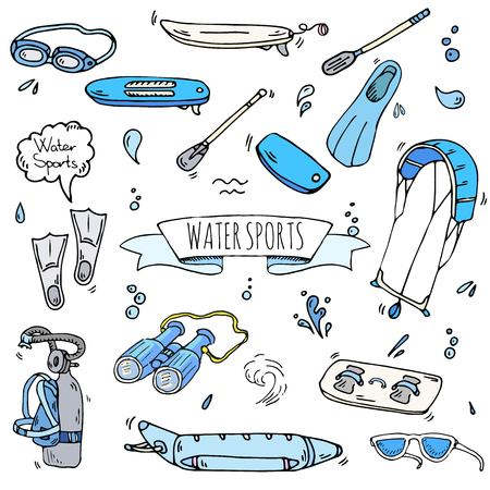 Hand drawn doodle Water sports icons set. Vector illustration, isolated symbols collection, Cartoon various elements: jetski, wakeboard, waterski, surfing, kayak, kitesurfing, paddle, parasailing Stock Illustratie