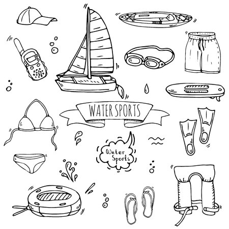 Hand drawn doodle Water sports icons set. Vector illustration, isolated symbols collection, Cartoon various elements: jetski, wakeboard, waterski, surfing, kayak, kitesurfing, paddle, parasailing Stock Vector - 120062204