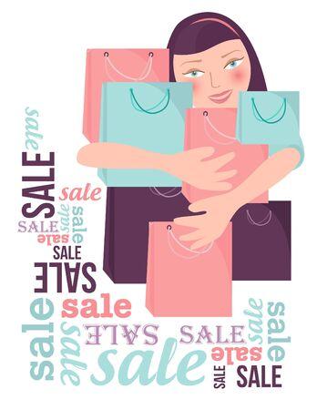 asian girl shopping: Shopping sale woman