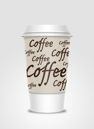 Coffee cup with label Stock Photo