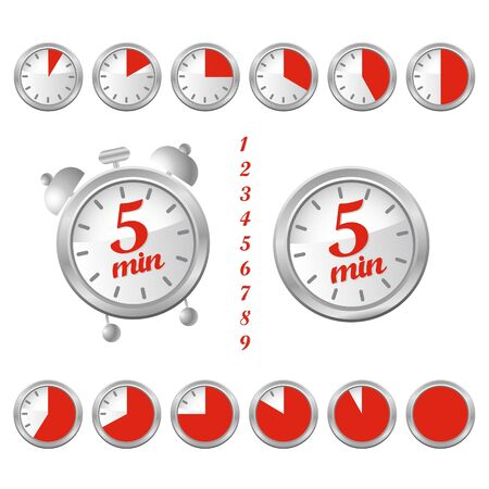 five minutes clock Illustration