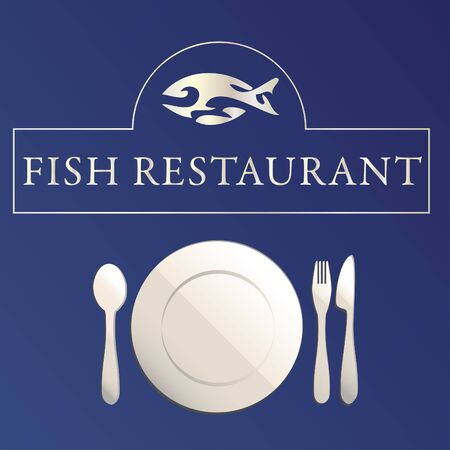Fish restaurant illustration on blue background Vector
