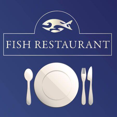 Fish restaurant illustration on blue background Vector