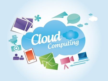 data storage device: Cloud computing concept Illustration