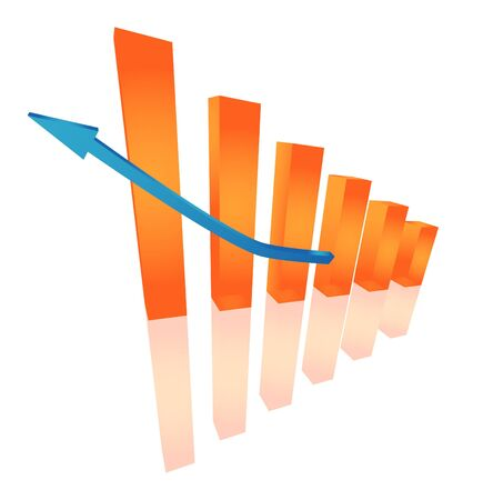 three dimensional: Three dimensional orange chart Illustration