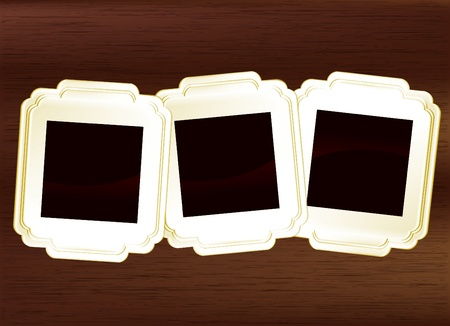 picture frame set on dark wood Stock Vector - 12946428