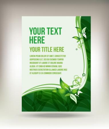 Eco green leaf flyer design Vector