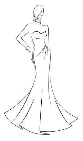 female model: fashion model illustration Illustration
