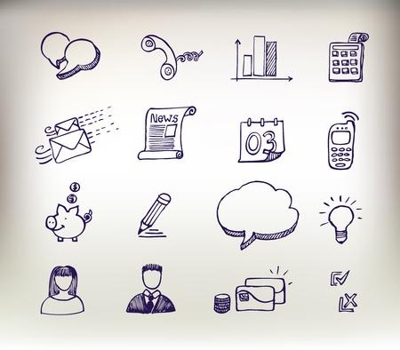 kommunikation: Sketchy klotter ikoner